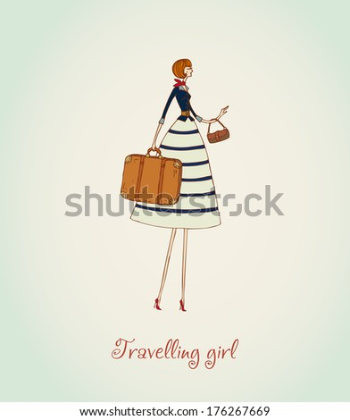 Illustration of a travelling girl and place for your text. Template for design and decoration