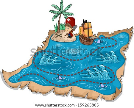 Illustration of a Treasure Map with Three-Dimensional Markers - stock vector