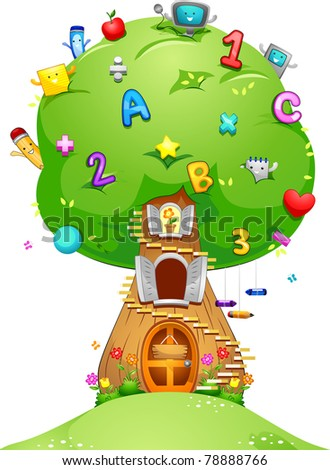 Illustration of a Tree Loaded with School Related Items - stock vector