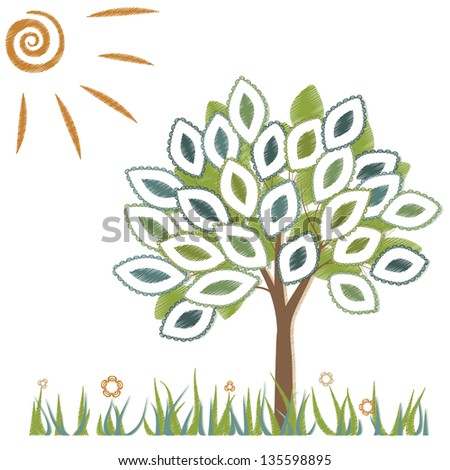 Illustration of a tree on a white background - stock vector