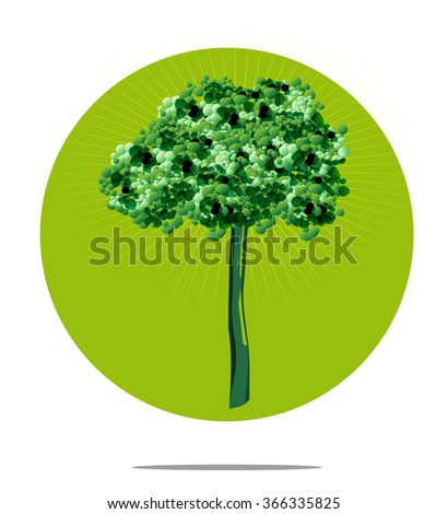 Illustration of a tree with green circle background - stock vector