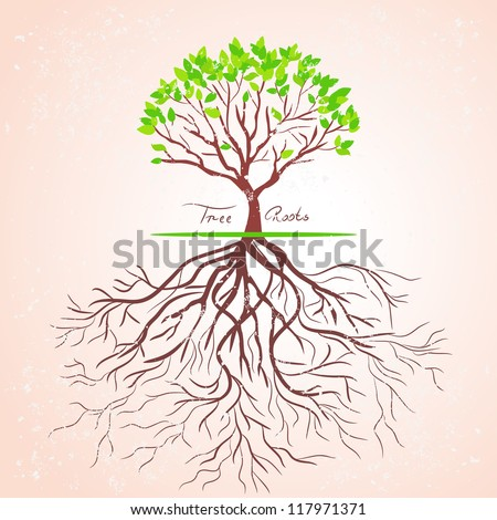 illustration of a tree with roots in a retro style - stock vector