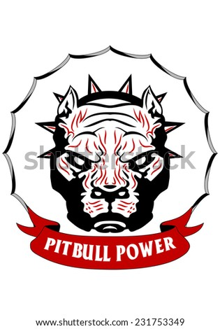 Illustration of a tribal pit-bull head on isolated white background - stock vector
