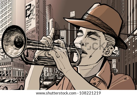 Illustration of a trumpeter in a New York street - stock vector