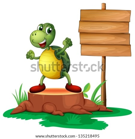 Illustration of a trunk with a turtle near the wooden signboard on a white background
