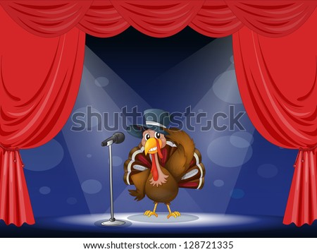 Illustration of a turkey with a hat at the center of the stage - stock vector