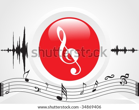 Illustration of a turntable logo and musical background - stock vector