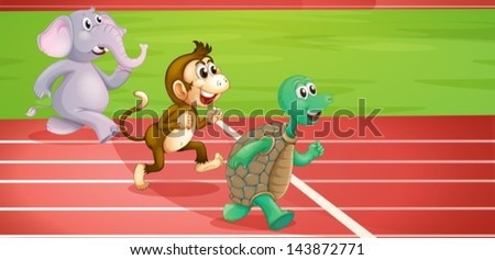Illustration of a turtle, a monkey and an elephant running - stock vector