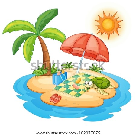 illustration of a turtle on an island - stock vector