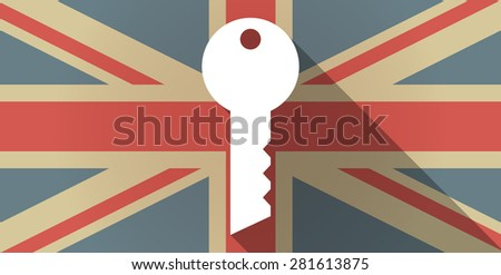 Illustration of a UK flag icon with a key