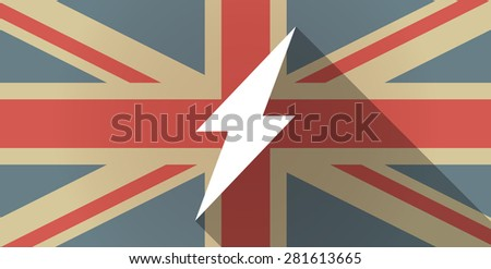 Illustration of a UK flag icon with a lightning