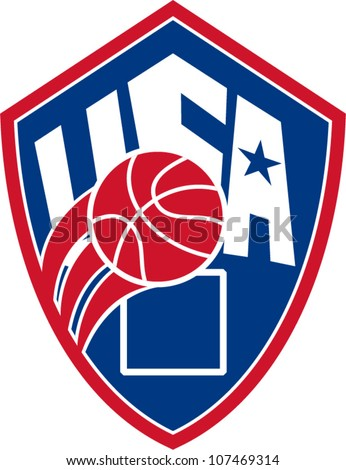 Illustration of a United States basketball ball with American star and words USA set inside shield on isolated white background.