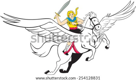 Illustration of a valkyrie of Norse mythology female rider Amazon warriors riding horse with sword done in cartoon style on isolated white background.