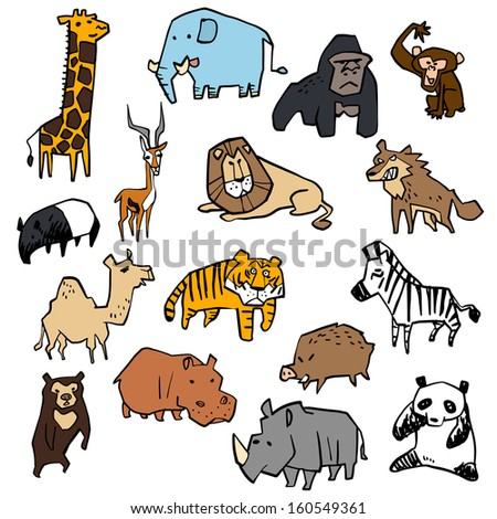 Illustration of a variety of animal - stock vector