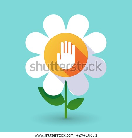 Illustration of a  vector flower with a hand