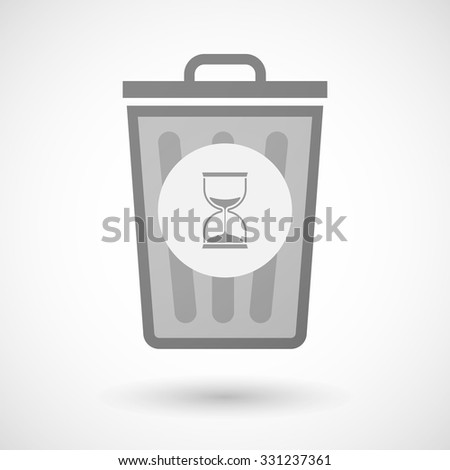 Illustration of a vector trash can icon with a sand clock - stock vector
