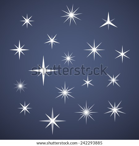 Illustration of a vectorial sparkles set - stock vector