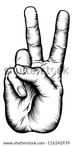 Illustration of a victory V salute or peace hand sign in a retro woodblock style - stock vector