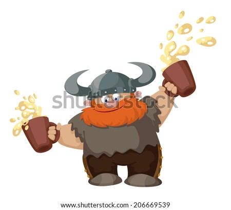illustration of a viking with two beer - stock vector