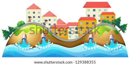 Illustration of a village with three childrens running along the drainage - stock vector