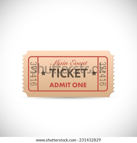 Illustration of a vintage Admit One ticket isolated on a white background.