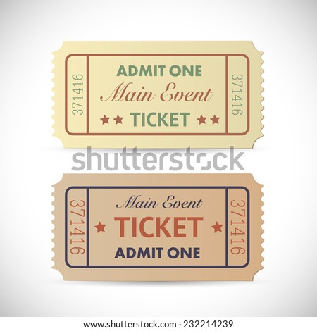 Illustration of a vintage Admit One tickets isolated on a white background.