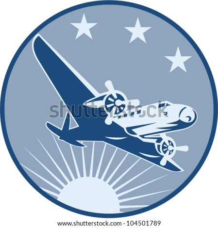 Illustration of a vintage airplane airliner flying with sunburst and stars set inside circle done in retro style. - stock vector
