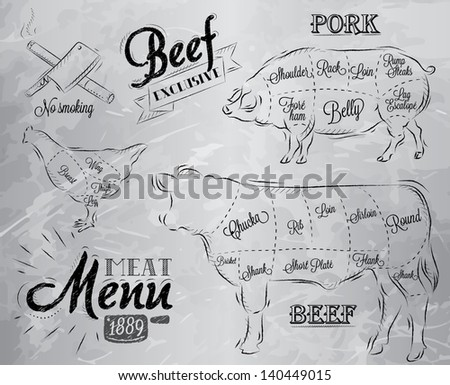Illustration of a vintage graphic element on the menu for meat steak cow pig chicken divided into pieces of meat - stock vector