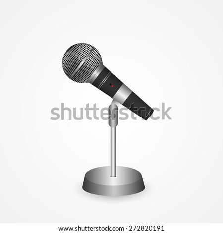 Illustration of a vintage microphone isolated on a white background. - stock vector