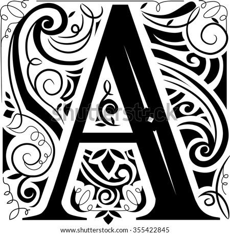Illustration of a Vintage Monogram Featuring the Letter A - stock vector