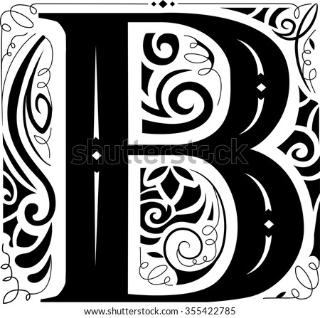 Illustration of a Vintage Monogram Featuring the Letter B - stock vector