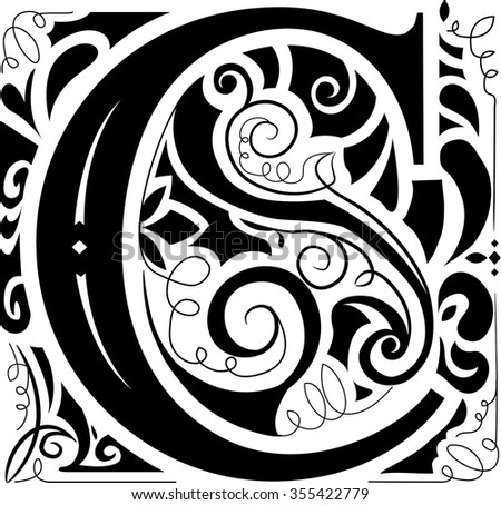 Illustration of a Vintage Monogram Featuring the Letter C - stock vector