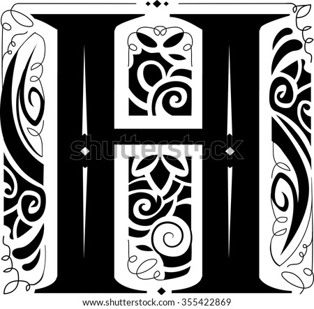 Illustration of a Vintage Monogram Featuring the Letter H - stock vector