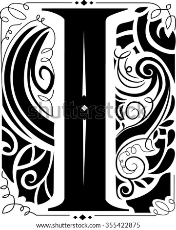 Illustration of a Vintage Monogram Featuring the Letter I - stock vector