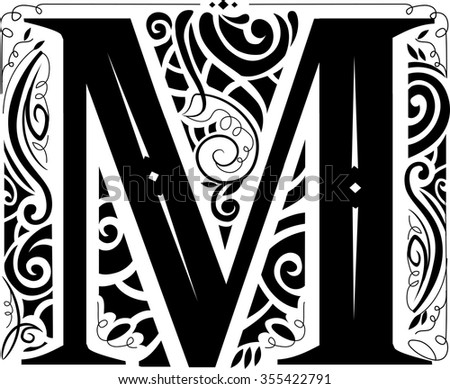 Illustration of a Vintage Monogram Featuring the Letter M - stock vector