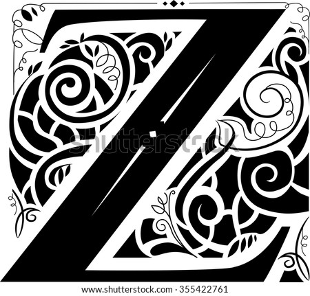 Illustration of a Vintage Monogram Featuring the Letter Z - stock vector