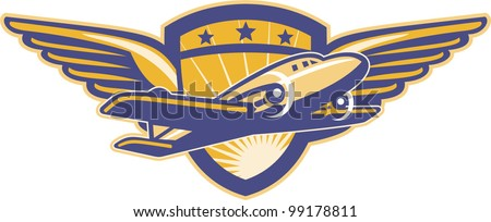Illustration of a vintage propeller airplane flying with wings and shield in background done in retro style. - stock vector