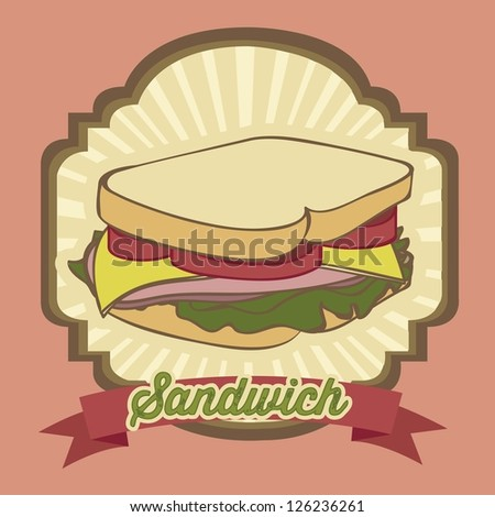 illustration of a vintage sandwich, fast food, vector illustration - stock vector