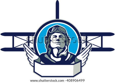 Illustration of a vintage world war one pilot airman aviator front with spad biplane fighter planes in background set inside circle done in retro style.  - stock vector