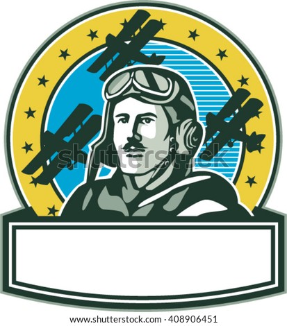 Illustration of a vintage world war one pilot airman aviator with mustache bust with spad biplane fighter planes and stars in background set inside circle done in retro style.