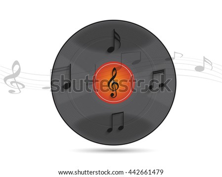 Illustration of a vinyl record and musical notes against a light background. - stock vector