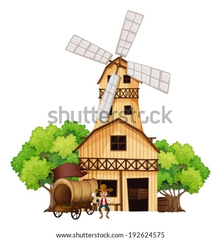 Illustration of a wagon with an armed gunman standing in front of the wooden house on a white background - stock vector