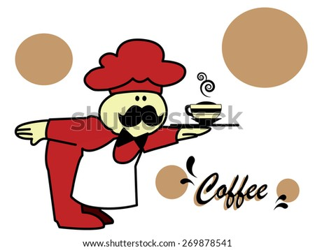 Illustration of a waiter carrying a coffee