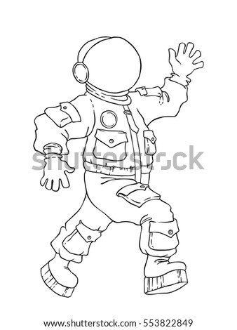 illustration of a walking and greeting the astronaut in space suit and mask