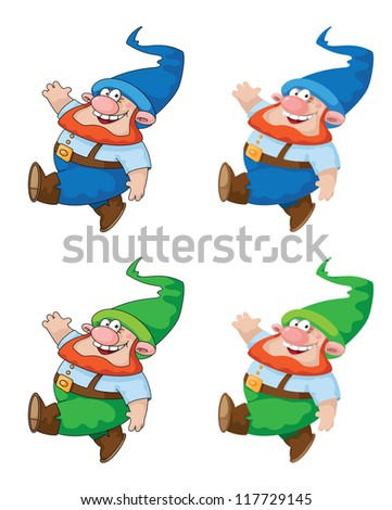 illustration of a walking gnome. File is loaded again with corrections. - stock vector