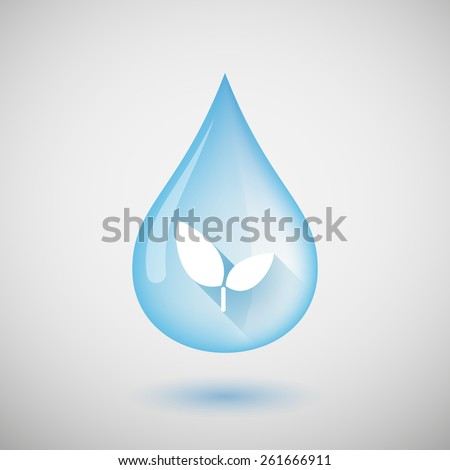 Illustration of a water drop with a plant - stock vector