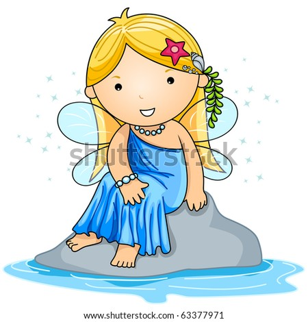 Illustration of a Water Fairy Sitting Comfortably on a Rock