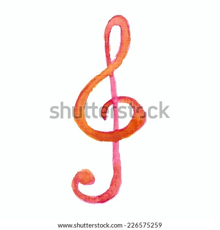 Illustration of a watercolor clef  on white background - stock vector