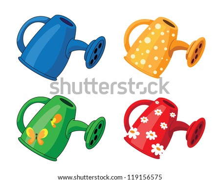 illustration of a watering can set