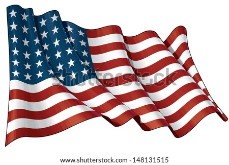 Illustration of a waving US 48 star flag of the period 1912-1959. This design was used by the US in both World Wars and the Korean war. - stock vector
